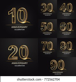 10 - 90 years anniversary, 0 - 9 Numbers.Celebration anniversary  logotype. logo with golden and color isolated on black background, vector design for invitation card, greeting card.