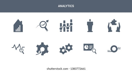 10 analytics vector icons such as round value chart, search analytics, service, setting flow interface, sine waves analysis contains solution, speech, statistics, stock data analysis, stock market.