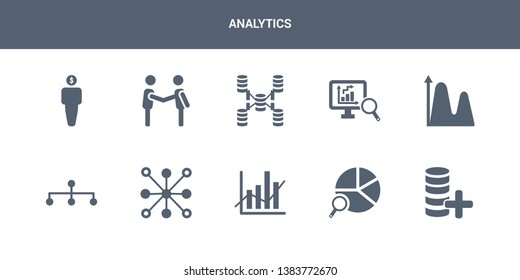 10 analytics vector icons such as data, data analysis pie chart, data analytics, analytics circular, flow contains wave, database analysing, database interconnected, deal, debt. icons