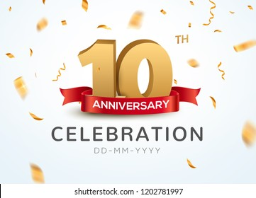 10 Anniversary gold numbers with golden confetti. Celebration 10th anniversary event party template