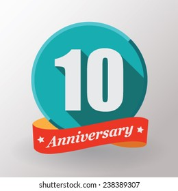 10 Anniversary  label with ribbon. Flat design.