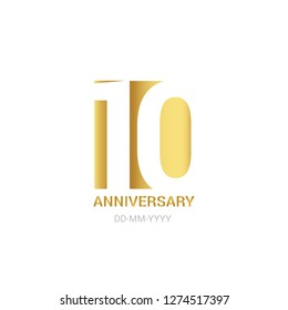 10 anniversary, minimalist logo. Tenth years, 10th jubilee, greeting card. Birthday invitation. 10 year sign. Gold space vector illustration on white background - Vector