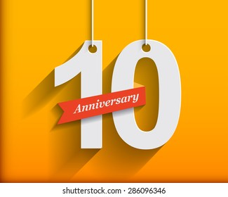 10 Anniversary numbers with ribbon. Flat origami stylen with long shadow. Vector illustration