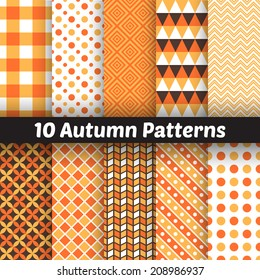 10 Autumn vector seamless patterns. Endless texture for wallpaper, fill, web page background, texture. Set of halloween and thanksgiving geometric ornament. Orange and white colors