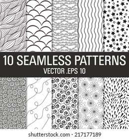 10 Black and White Seamless Vector Patterns