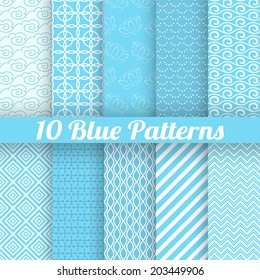 10 Blue different seamless patterns (tiling). Vector illustration for abstract aqua design. Endless texture can be used for fills, web page background, surface. Set of wallpaper with waves.