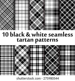 10 b&w seamless tartan patterns