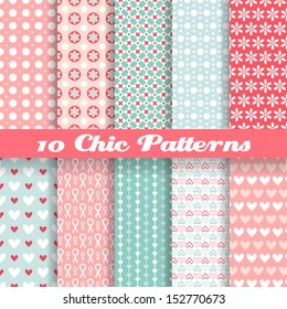 10 Chic different vector seamless patterns (tiling). Pink and blue color. Endless texture can be used for printing onto fabric and paper or scrap booking. Heart, flower and dot shape.