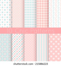 10 Chic different vector seamless patterns. Pink, white and blue color. Endless texture can be used for printing onto fabric and paper or scrap booking.