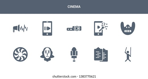 10 cinema vector icons such as puppet, scenario, seat, shakespeare, shutter contains silence, slapstick, slide projector, slow motion, sound effect. cinema icons