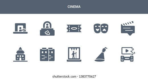10 cinema vector icons such as soundtrack, spotlight, stage, storyboard, studio contains subtitle, theatre, ticket, ticket office, ticket window. cinema icons