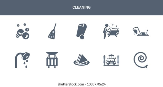 10 cleaning vector icons such as garden hose, car wash, serviette, dumpster, shower head contains carpet cleaning, bathtub cleaning, bin, broom, bubbles. icons