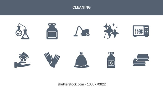 10 cleaning vector icons such as scouring pads, solvent, trash bag, sanitize, clean-living contains sterilization, neat, hoover, acid, chemical reaction. cleaning icons