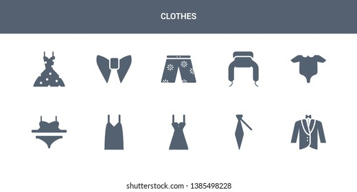 10 clothes vector icons such as dinner jacket, cravat, chemise, camisole, bra & knicker contains baby grow, ushanka, swim shorts, butterfly tie, vintage dress. clothes icons