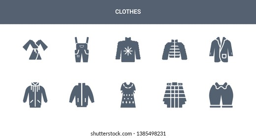 10 clothes vector icons such as knickers, kilt, kaftan, windbreaker, jogging jacket contains suit jacket, puffer jacket, fleece, dungarees, dressing gown. clothes icons