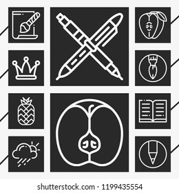 10 collection  outline style icons about hat, weather, book, svg file, apple, pen, pineapple, crayon