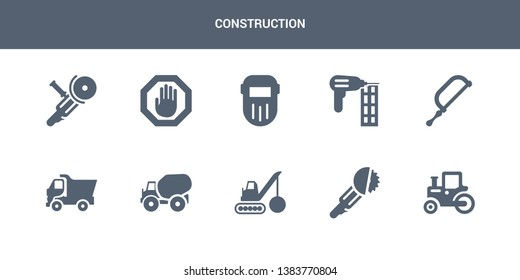 10 construction vector icons such as steamroller, circular saw, demolition, concrete, tipper contains hacksaw, nail gun, welding, stopping, angle grinder. construction icons