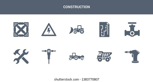 10 construction vector icons such as blowtorch, dumper, scraper, jackhammer, spanner contains gas pipe, construction plan, loader, high voltage, joist. construction icons