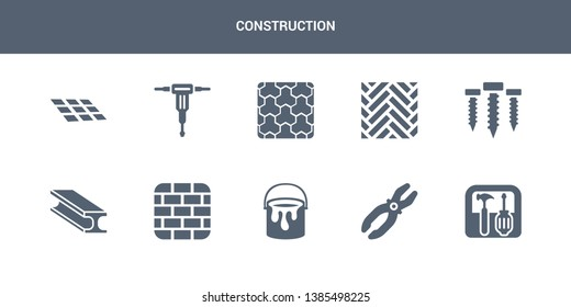 10 construction vector icons such as toolbox, plier, paint bucket, birck wall, beam contains screws, parquet, paving, hydraulic breaker, tiles. construction icons