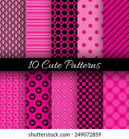 10 Cute abstract geometric bright seamless patterns. Vector illustration for attractive design. Endless texture can be used for fills, web page background, surface. Pink and black colors.