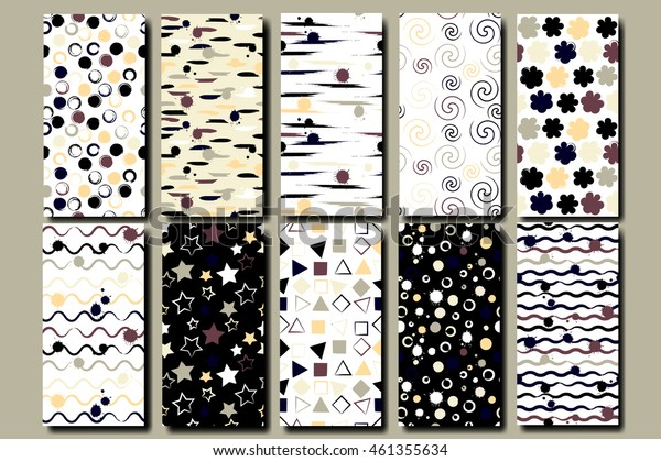 10 Cute different vector seamless patterns . Wavy lines, squares, swirl, circles, triangles and stars. Brush strokes and blots. Endless texture can be used for printing onto fabric or paper.