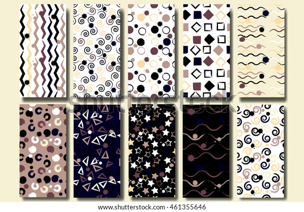 10 Cute different vector seamless patterns . Wavy lines, squares, swirl, circles, brush strokes, triangles and stars. Endless texture can be used for printing onto fabric or paper.