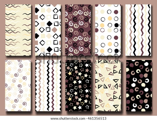 10 Cute different vector seamless patterns . Wavy lines, brush strokes, swirl, circles, triangles and hearts. Endless texture can be used for printing onto fabric or paper.