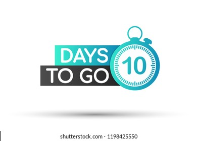 10 days to go flat icon. Vector stock illustration.