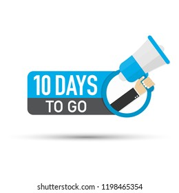 10 days to go flat icon on white background. Vector stock illustration.