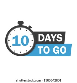 10 days to go flat icon. Vector stock illustration. label, blue alarm clock flat with ribbon, promotion icon, best deal symbol.