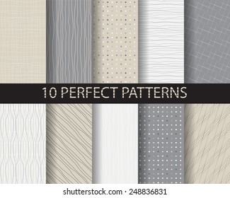 10 different beautiful classic linear , dot seamless  patterns. Endless texture can be used for wallpaper, pattern fills, web page background,surface textures,tile, greeting card, scrapbook, backdrop