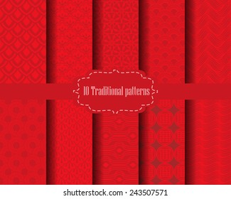 10 different chinese vector seamless patterns. Endless texture can be used for wallpaper, pattern fills, web page background,surface textures.