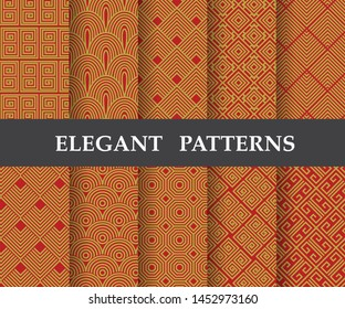 10 different elegant classic patterns. Endless and seamless texture can be used for wallpaper, pattern fills, web page background,surface textures,tile, greeting card, scrapbook, backdrop