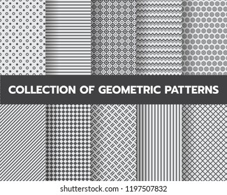 10 different geometric patterns , formal collection, Pattern Swatches vector Endless texture can be used for wallpaper, pattern fills, web page,background,surface