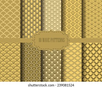 10 different gold wave patterns, Pattern Swatches, vector, Endless texture can be used for wallpaper, pattern fills, web page,background,surface
