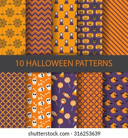 10 different halloween vector patterns. Endless texture can be used for wallpaper, pattern fills, web page,background,surface