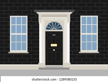 10 Downing street - residential building for Prime minister of United Kingdom of Great Britain - house for political leader in UK. Vector illustration