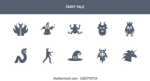 10 fairy tale vector icons such as unicorn, viking, witch hat, zombie, rapunzel contains dwarf, beast, toad, fairy godmother, myth. fairy tale icons