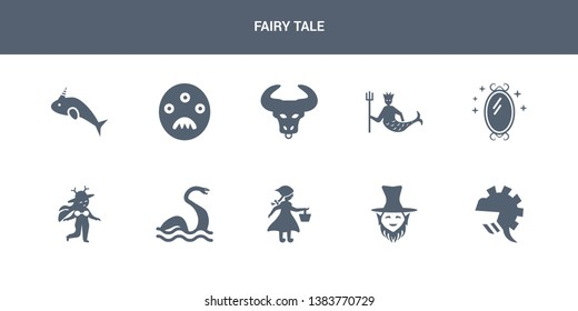 10 fairy tale vector icons such as knight, leprechaun, little  riding hood, loch ness monster, madre monte contains magic mirror, merman, minotaur, monster, narwhal. fairy tale icons