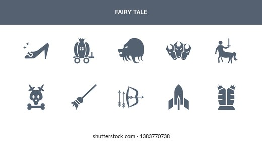 10 fairy tale vector icons such as armor, atomic bomb, bow and arrow, broomstick, caribbean contains centaur, cerberus, chimera, cinderella carriage, cinderella shoe. fairy tale icons
