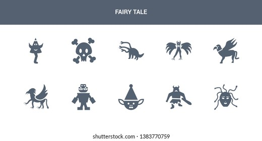 10 fairy tale vector icons such as female medusa, giant, goblin, golem, griffin contains gryphon, harpy, hydra, jolly roger, karakasakozou. fairy tale icons
