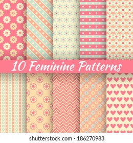 10 Feminine vector seamless patterns (tiling). Fond pink and blue colors. Endless texture can be used for printing onto fabric and paper or invitation. Heart, flower, dot, diagonal stripe shape.