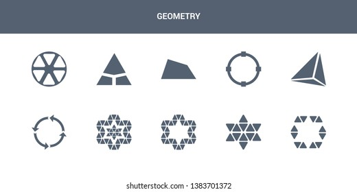 10 geometry vector icons such as star in hexagon of small triangles, star of six points, star ornament of small triangles, ornament triangles, synergy contains tetrahedron, transform, trapezium.