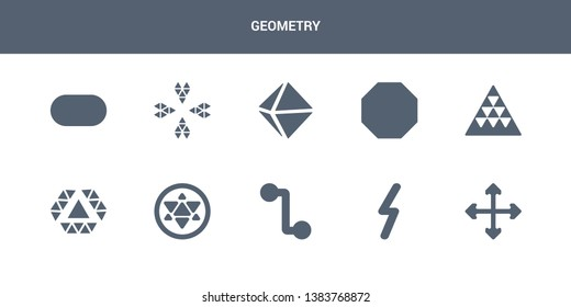 10 geometry vector icons such as intersection, lightning bolt polygonal, line segment, metatron cube, multiple triangles inside hexagon contains multiple triangles triangle, octagon, octahedron,