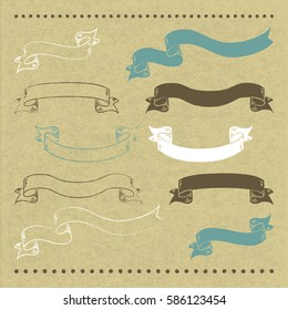 10 hand drawn banners on cardboard with vector illustration