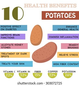 10 Health benefits information of Potatoes. Nutrients infographic,  vector illustration. - stock vector