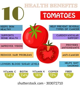 10 Health benefits information of Tomatoes. Nutrients infographic,  vector illustration. - stock vector