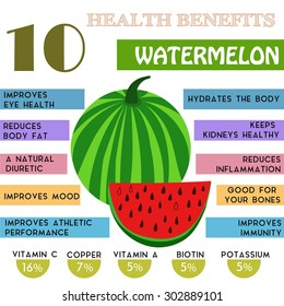 10 Health benefits information of Watermelon. Nutrients infographic,  vector illustration. - stock vector
