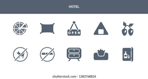 10 hotel vector icons such as minibar, napkins, nightstand, no pets, no smoking contains olives, onigiri, open, pillow, pizza. hotel icons