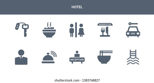 10 hotel vector icons such as pool, ramen, reception, reception bell, receptionist contains rent a car, reservation, restroom, rice, room key. hotel icons